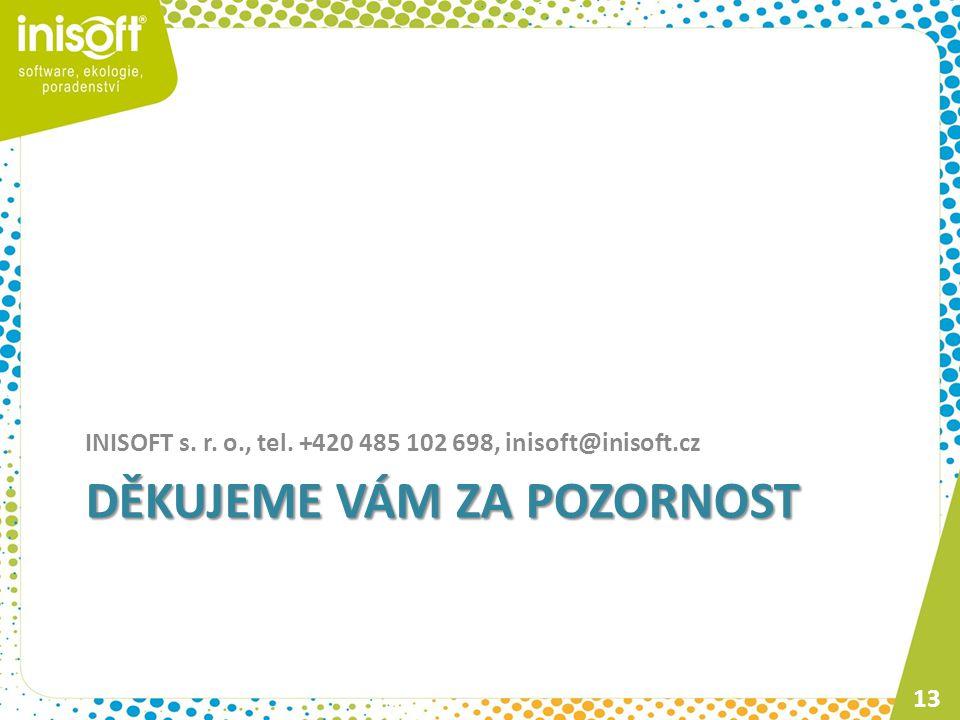 DĚKUJEME VÁM ZA POZORNOST INISOFT s. r. o., tel. +420 485 102 698, inisoft@inisoft.cz 13