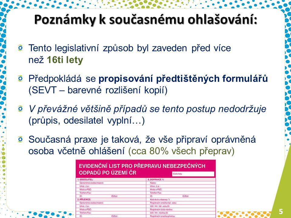 Poznámky k současnému ohlašování: Tento legislativní způsob byl zaveden před více než 16ti lety Předpokládá se propisování předtištěných formulářů (SE