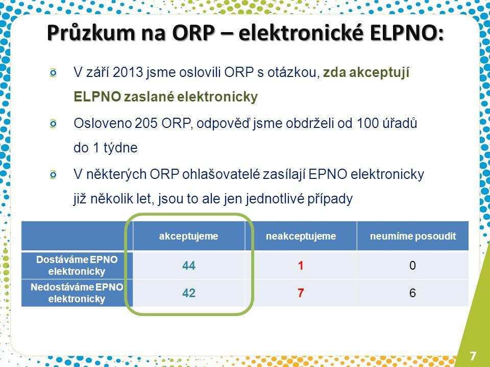 V září 2013 jsme oslovili ORP s otázkou, zda akceptují ELPNO zaslané elektronicky Osloveno 205 ORP, odpověď jsme obdrželi od 100 úřadů do 1 týdne V ně