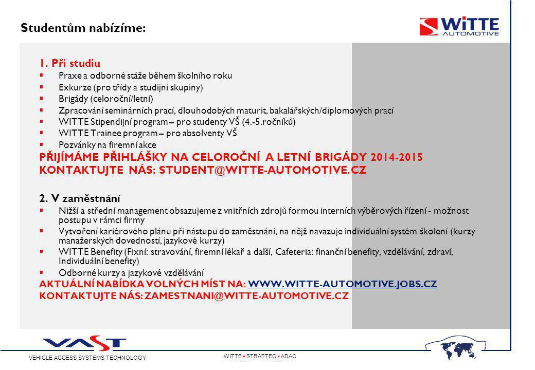 VEHICLE ACCESS SYSTEMS TECHNOLOGY WITTE  STRATTEC  ADAC www.witte-automotive.cz fb.com/WITTEAutomotiveCZ Děkujeme za pozornost.