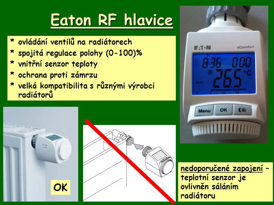 Eaton RF hlavice *ovládání ventilů na radiátorech *spojitá regulace polohy (0-100)% *vnitřní senzor teploty *ochrana proti zámrzu *velká kompatibilita