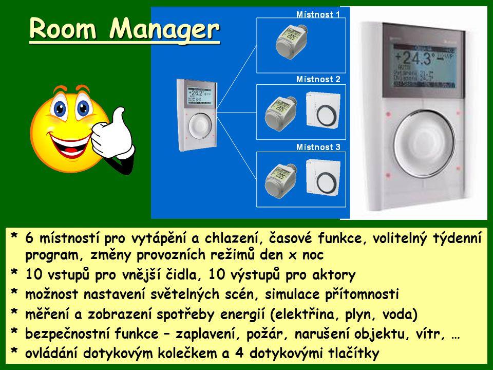 *6 místností pro vytápění a chlazení, časové funkce, volitelný týdenní program, změny provozních režimů den x noc *10 vstupů pro vnější čidla, 10 výst