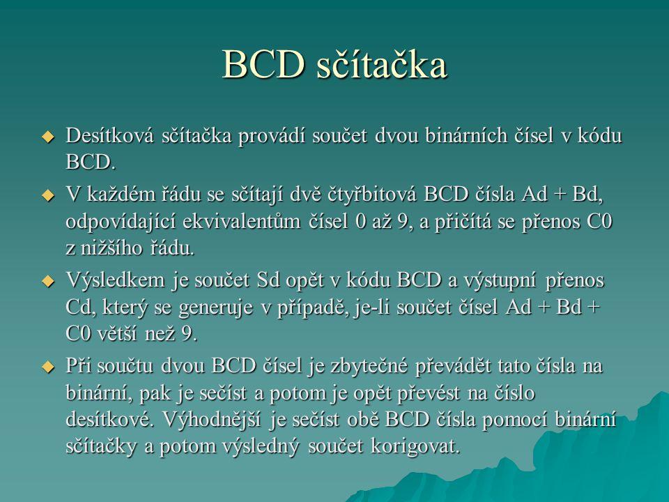 BCD sčítačka  Desítková sčítačka provádí součet dvou binárních čísel v kódu BCD.  V každém řádu se sčítají dvě čtyřbitová BCD čísla Ad + Bd, odpovíd