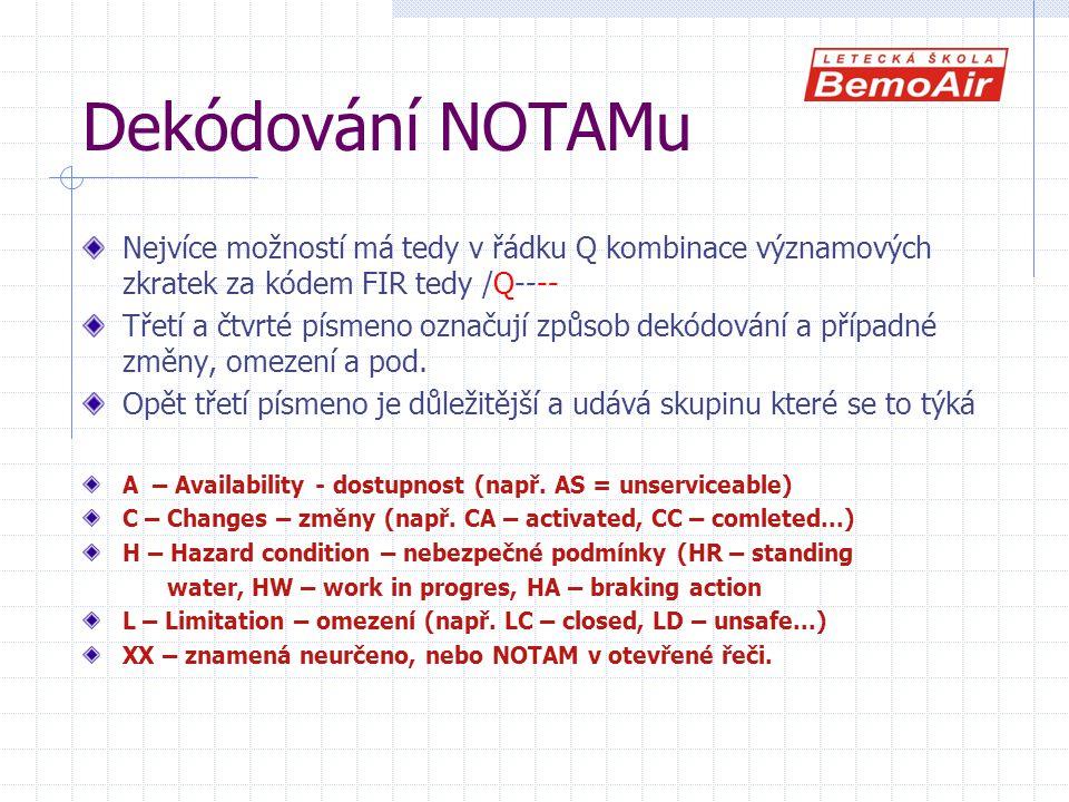 Dekódování NOTAMu Nejvíce možností má tedy v řádku Q kombinace významových zkratek za kódem FIR tedy /Q---- Třetí a čtvrté písmeno označují způsob dekódování a případné změny, omezení a pod.