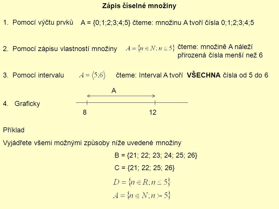 Zápis číselné množiny 1. Pomocí výčtu prvků A = {0;1;2;3;4;5} čteme: množinu A tvoří čísla 0;1;2;3;4;5 2. Pomocí zápisu vlastností množiny 3. Pomocí i