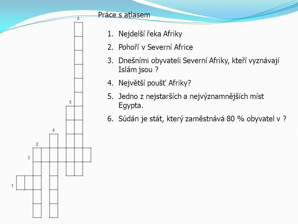 6 5 4 2 3 1 Práce s atlasem 1.Nejdelší řeka Afriky 2.Pohoří v Severní Africe 3.Dnešními obyvateli Severní Afriky, kteří vyznávají Islám jsou .