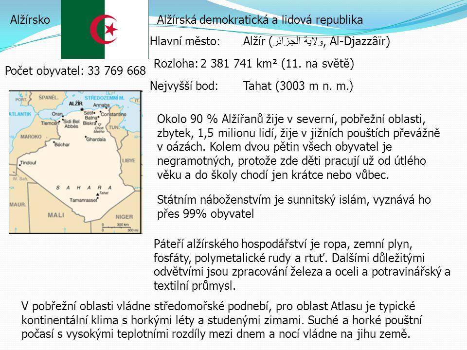 AlžírskoAlžírská demokratická a lidová republika Hlavní město:Alžír ( ولاية الجزائر, Al-Djazzâïr) Rozloha:2 381 741 km² (11.