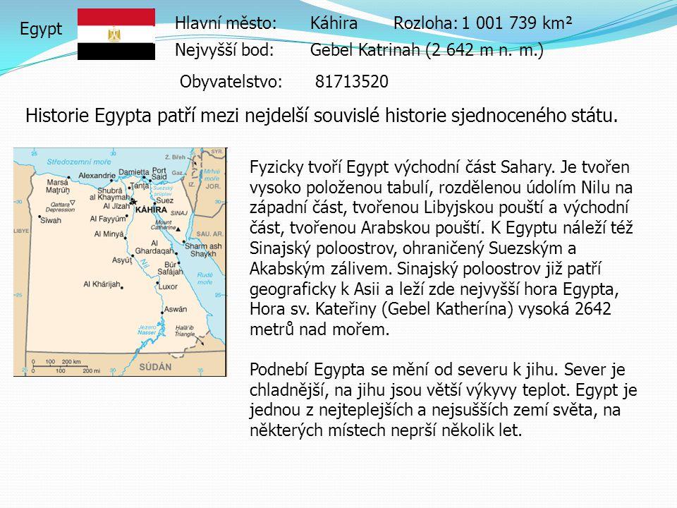Egypt Hlavní město:KáhiraRozloha:1 001 739 km² Nejvyšší bod:Gebel Katrinah (2 642 m n.