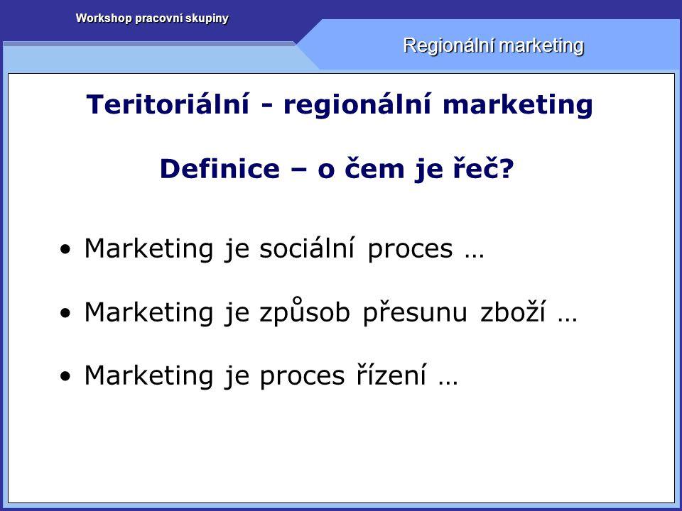 Regionální marketing Teritoriální - regionální marketing Definice – o čem je řeč.