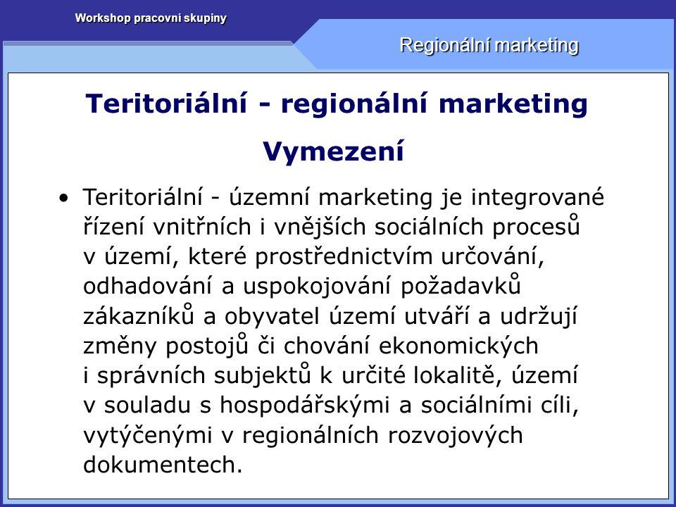 Workshop pracovní skupiny Regionální marketing Teritoriální - regionální marketing Vymezení Teritoriální - územní marketing je integrované řízení vnitřních i vnějších sociálních procesů v území, které prostřednictvím určování, odhadování a uspokojování požadavků zákazníků a obyvatel území utváří a udržují změny postojů či chování ekonomických i správních subjektů k určité lokalitě, území v souladu s hospodářskými a sociálními cíli, vytýčenými v regionálních rozvojových dokumentech.