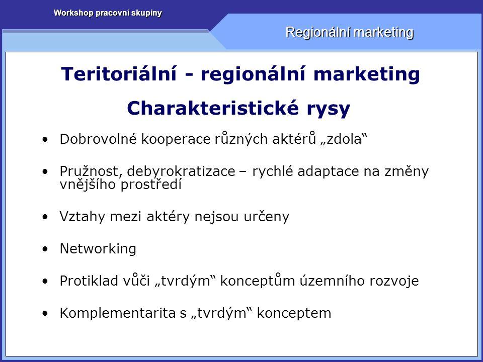 Workshop pracovní skupiny Regionální marketing Teritoriální - regionální marketing Co nabízí.