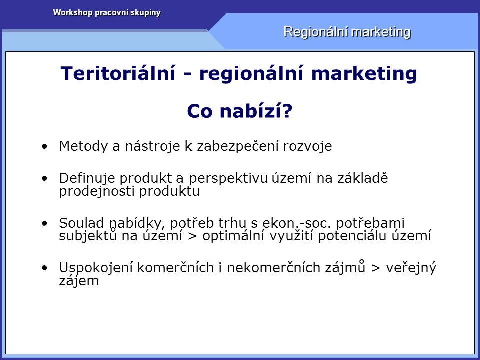 Workshop pracovní skupiny Regionální marketing Teritoriální - regionální marketing Komunikační politika Kdo.