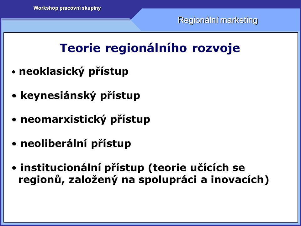 Workshop pracovní skupiny Regionální marketing Teorie regionálního rozvoje neoklasický přístup keynesiánský přístup neomarxistický přístup neoliberální přístup institucionální přístup (teorie učících se regionů, založený na spolupráci a inovacích)