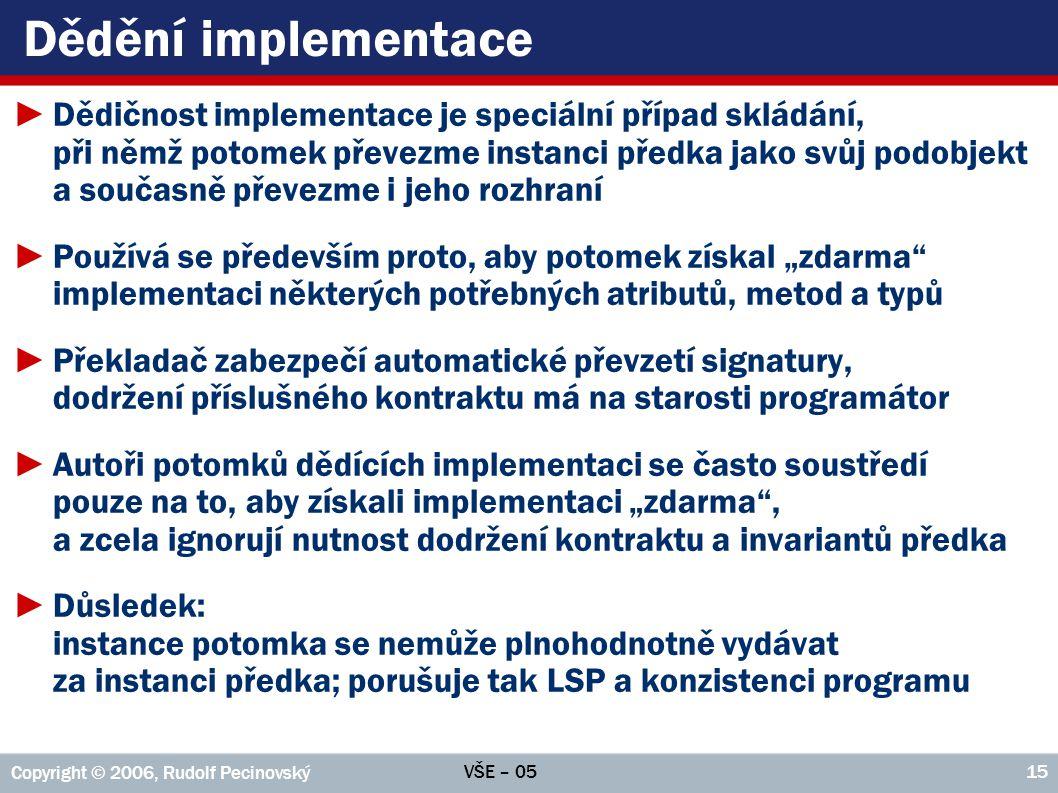 VŠE – 05 Copyright © 2006, Rudolf Pecinovský 15 Dědění implementace ►Dědičnost implementace je speciální případ skládání, při němž potomek převezme in