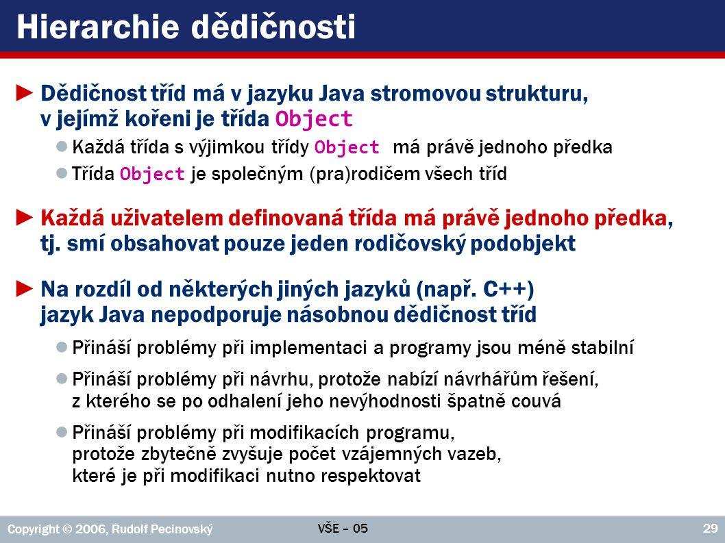 VŠE – 05 Copyright © 2006, Rudolf Pecinovský 29 Hierarchie dědičnosti ►Dědičnost tříd má v jazyku Java stromovou strukturu, v jejímž kořeni je třída O