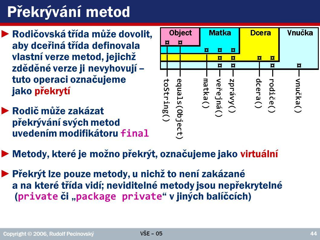 VŠE – 05 Copyright © 2006, Rudolf Pecinovský 44 Překrývání metod ►Rodičovská třída může dovolit, aby dceřiná třída definovala vlastní verze metod, jej