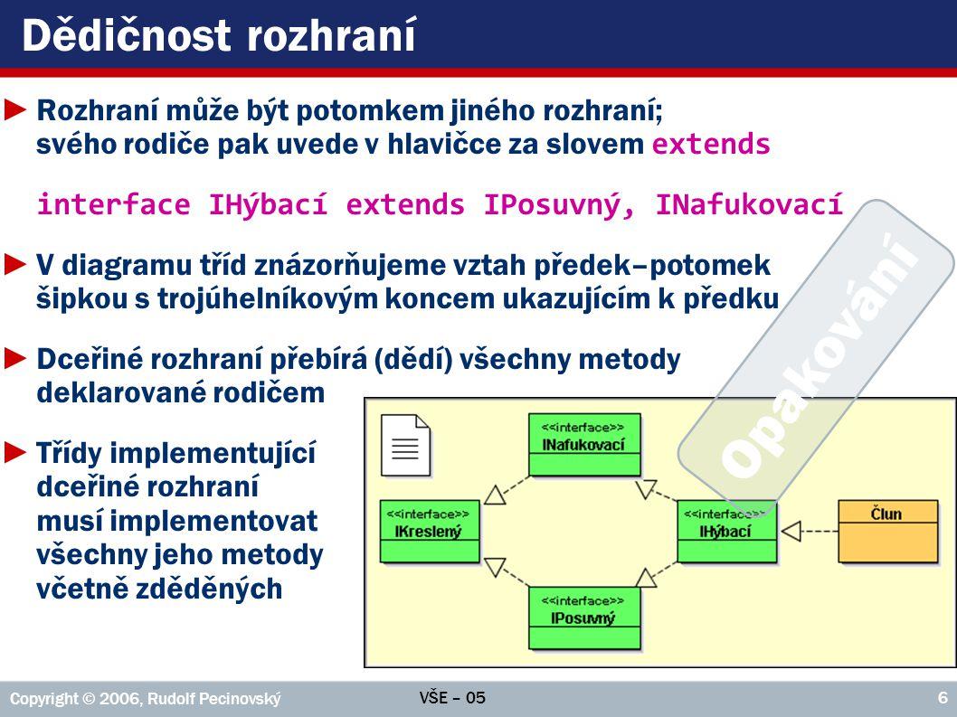 VŠE – 05 Copyright © 2006, Rudolf Pecinovský 57 Klíčové slovo super ►Volání prostřednictvím super musí být úplně první akcí v těle konstruktoru; nesmí předcházet ani složená závorka ►Stejný požadavek má i volání prostřednictvím this => volání prostřednictvím super a prostřednictvím this se navzájem vylučují public Čtverec() { this( 0, 0 ); } public Čtverec( int x, int y ) { this( x, y, 50, IMPLICITNÍ_BARVA ); } public Čtverec( int x, int y, int strana ) { this( x, y, strana, strana, IMPLICITNÍ_BARVA ); } public Čtverec( int x, int y, int strana, Barva barva ) { super( x, y, strana, strana, barva ); }