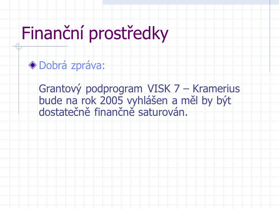 Finanční prostředky Dobrá zpráva: Grantový podprogram VISK 7 – Kramerius bude na rok 2005 vyhlášen a měl by být dostatečně finančně saturován.