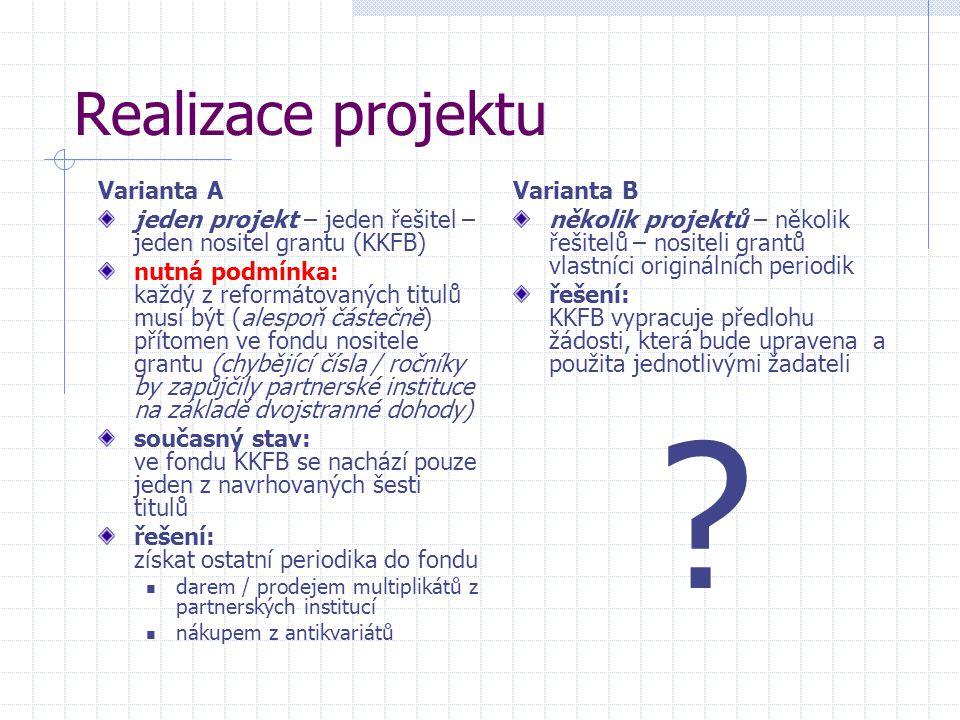 Realizace projektu Varianta A jeden projekt – jeden řešitel – jeden nositel grantu (KKFB) nutná podmínka: každý z reformátovaných titulů musí být (ale