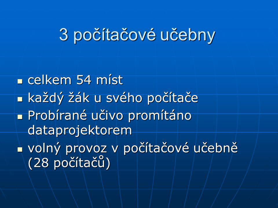 3 počítačové učebny celkem 54 míst celkem 54 míst každý žák u svého počítače každý žák u svého počítače Probírané učivo promítáno dataprojektorem Prob