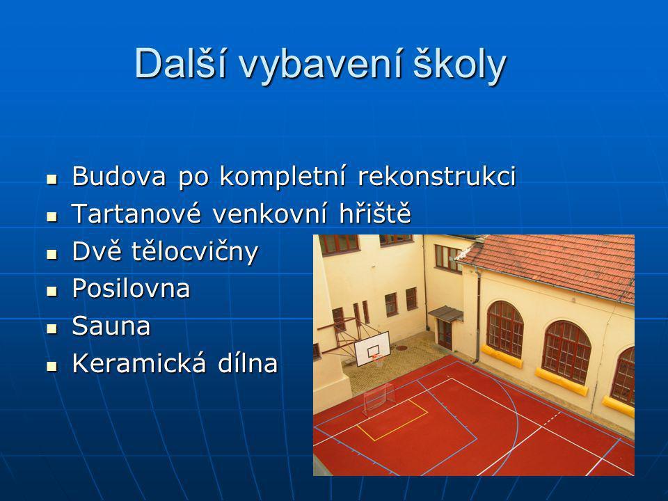 Další vybavení školy Budova po kompletní rekonstrukci Budova po kompletní rekonstrukci Tartanové venkovní hřiště Tartanové venkovní hřiště Dvě tělocvi