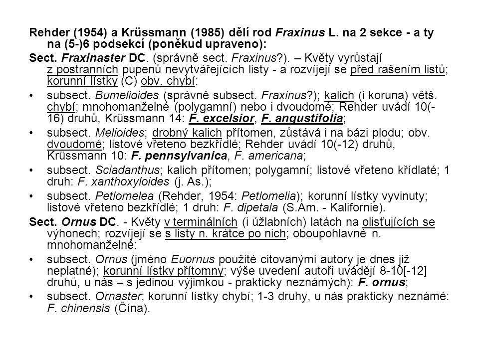 Rehder (1954) a Krüssmann (1985) dělí rod Fraxinus L.