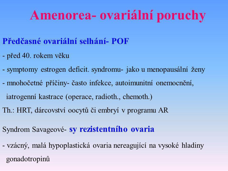 Amenorea- ovariální poruchy Předčasné ovariální selhání- POF - před 40. rokem věku - symptomy estrogen deficit. syndromu- jako u menopausální ženy - m