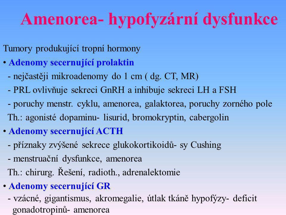 Amenorea- hypofyzární dysfunkce Tumory produkující tropní hormony Adenomy secernující prolaktin - nejčastěji mikroadenomy do 1 cm ( dg. CT, MR) - PRL