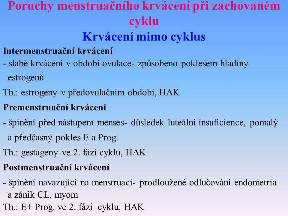 Poruchy menstruačního krvácení při zachovaném cyklu Krvácení mimo cyklus Intermenstruační krvácení - slabé krvácení v období ovulace- způsobeno pokles