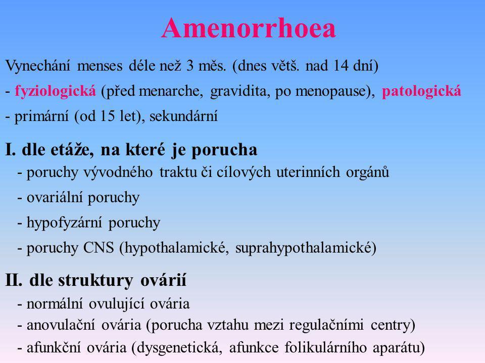 Amenorrhoea Vynechání menses déle než 3 měs. (dnes větš. nad 14 dní) - fyziologická (před menarche, gravidita, po menopause), patologická - primární (