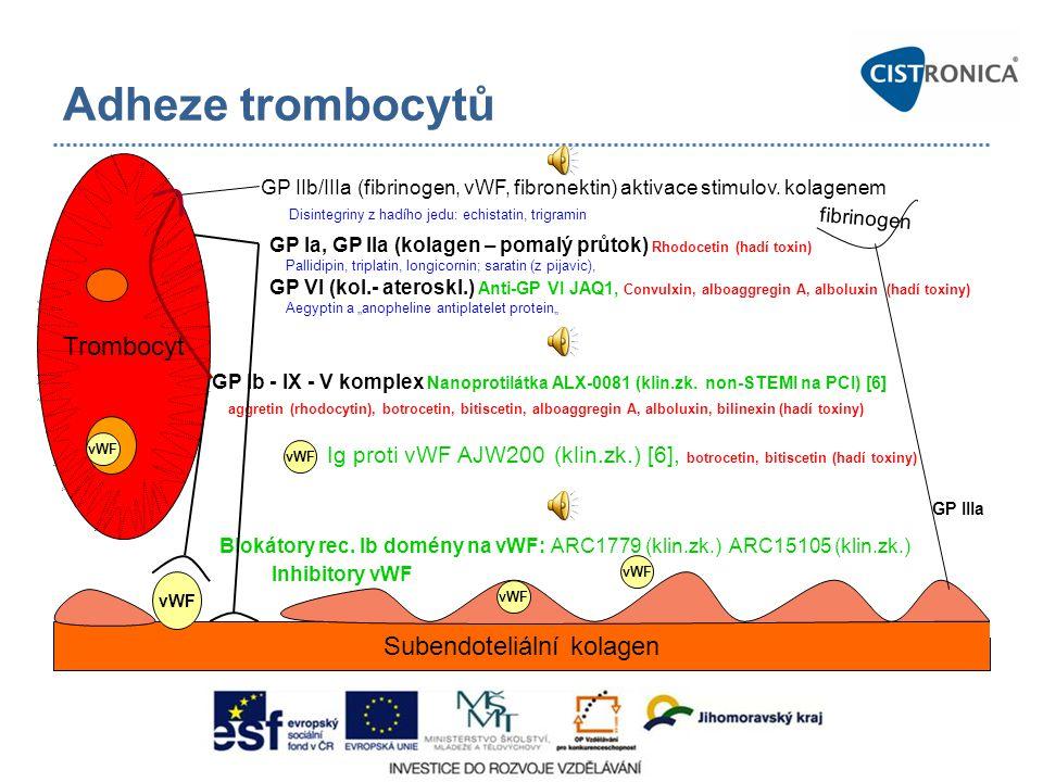 Blokátory rec. Ib domény na vWF: ARC1779 (klin.zk.) ARC15105 (klin.zk.) Inhibitory vWF Adheze trombocytů Trombocyt Subendoteliální kolagen vWF GP Ib -