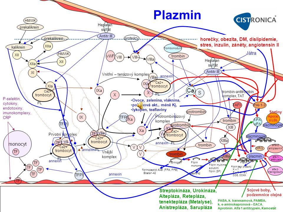 Fibrin degr.produkty X + Y E + D-dimery DDE, DDXX plazminogen Fibrin monomer Protrombinázový komplex monocyt TF P-selektin, cytokiny, endotoxiny, imun