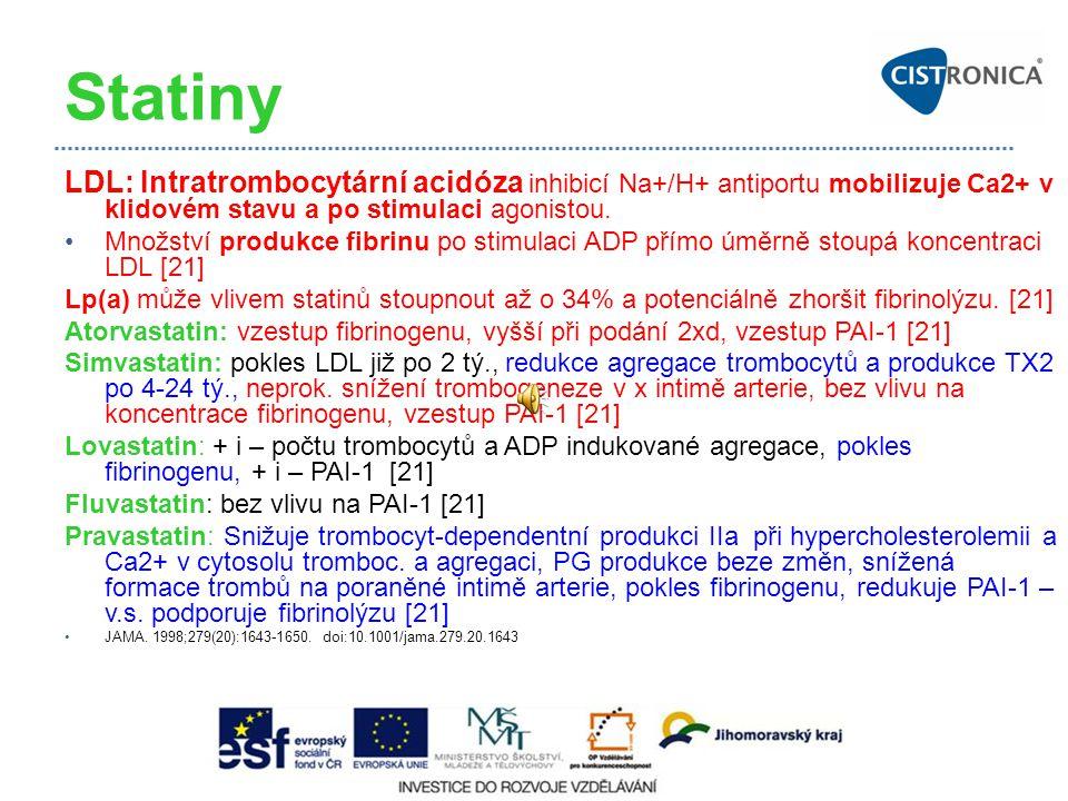 Statiny LDL: Intratrombocytární acidóza inhibicí Na+/H+ antiportu mobilizuje Ca2+ v klidovém stavu a po stimulaci agonistou. Množství produkce fibrinu