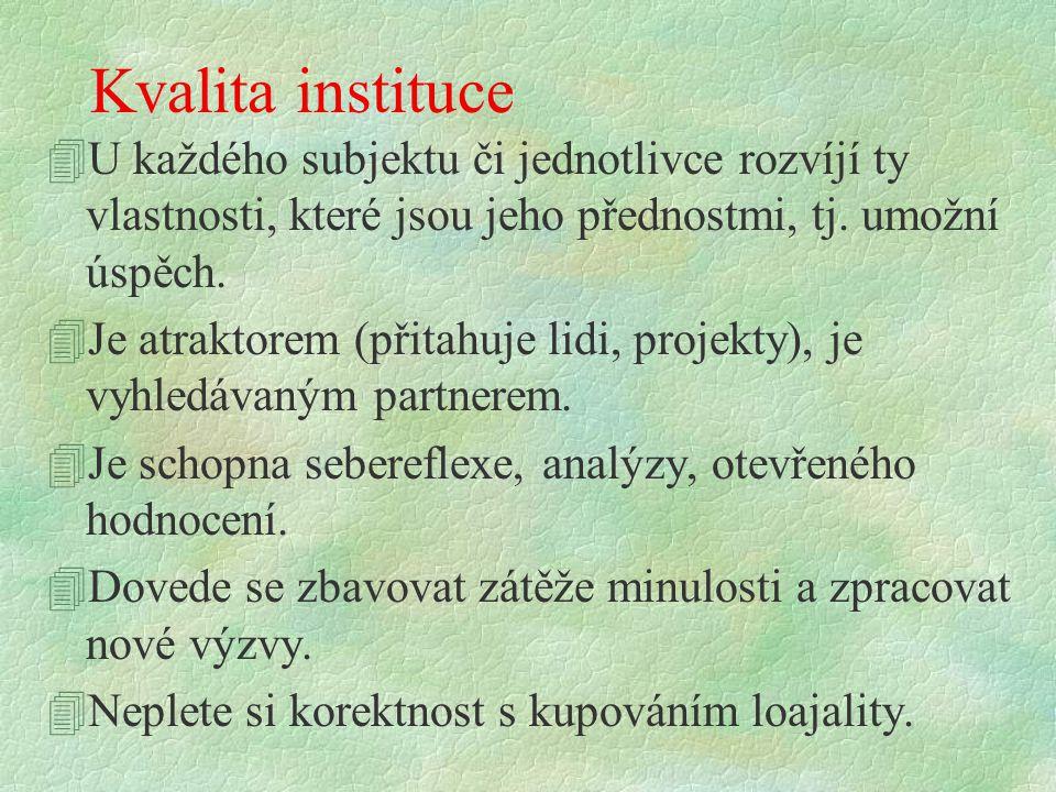 Kvalita instituce 4U každého subjektu či jednotlivce rozvíjí ty vlastnosti, které jsou jeho přednostmi, tj. umožní úspěch. 4Je atraktorem (přitahuje l