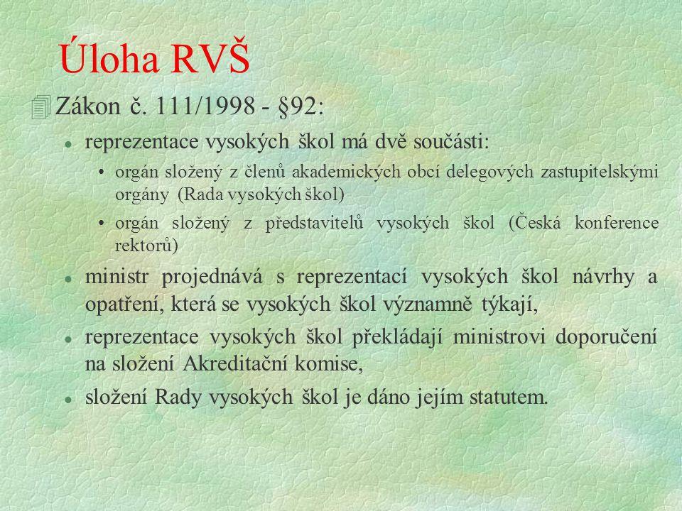Úloha RVŠ 4Zákon č. 111/1998 - §92: l reprezentace vysokých škol má dvě součásti: orgán složený z členů akademických obcí delegových zastupitelskými o