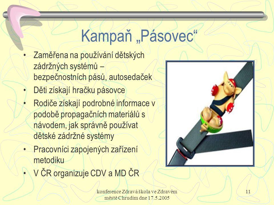 """konference Zdravá škola ve Zdravém městě Chrudim dne 17.5.2005 11 Kampaň """"Pásovec"""" Zaměřena na používání dětských zádržných systémů – bezpečnostních p"""