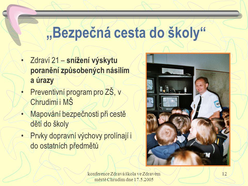 """konference Zdravá škola ve Zdravém městě Chrudim dne 17.5.2005 12 """"Bezpečná cesta do školy"""" Zdraví 21 – snížení výskytu poranění způsobených násilím a"""