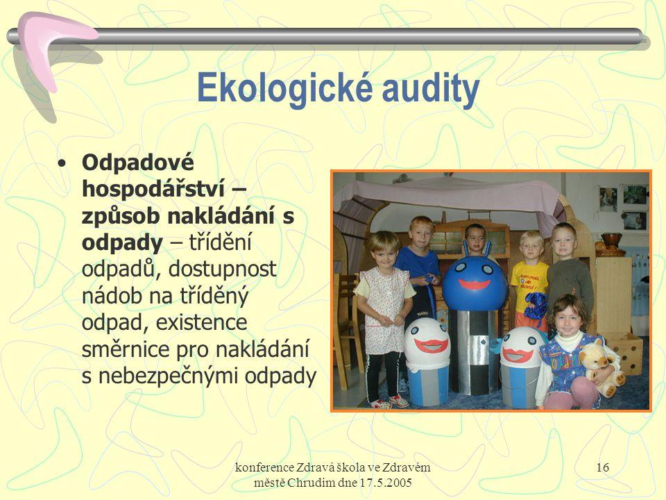 konference Zdravá škola ve Zdravém městě Chrudim dne 17.5.2005 16 Ekologické audity Odpadové hospodářství – způsob nakládání s odpady – třídění odpadů