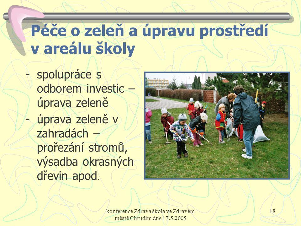 konference Zdravá škola ve Zdravém městě Chrudim dne 17.5.2005 18 Péče o zeleň a úpravu prostředí v areálu školy -spolupráce s odborem investic – úpra