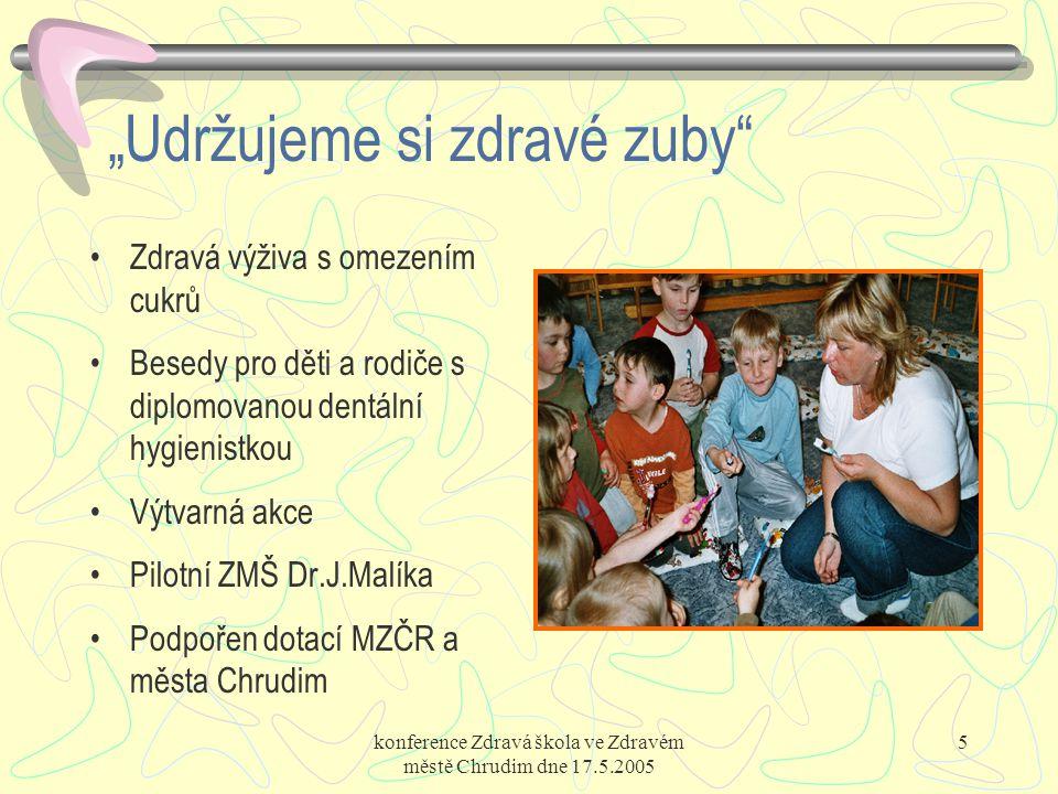 """konference Zdravá škola ve Zdravém městě Chrudim dne 17.5.2005 5 """"Udržujeme si zdravé zuby"""" Zdravá výživa s omezením cukrů Besedy pro děti a rodiče s"""