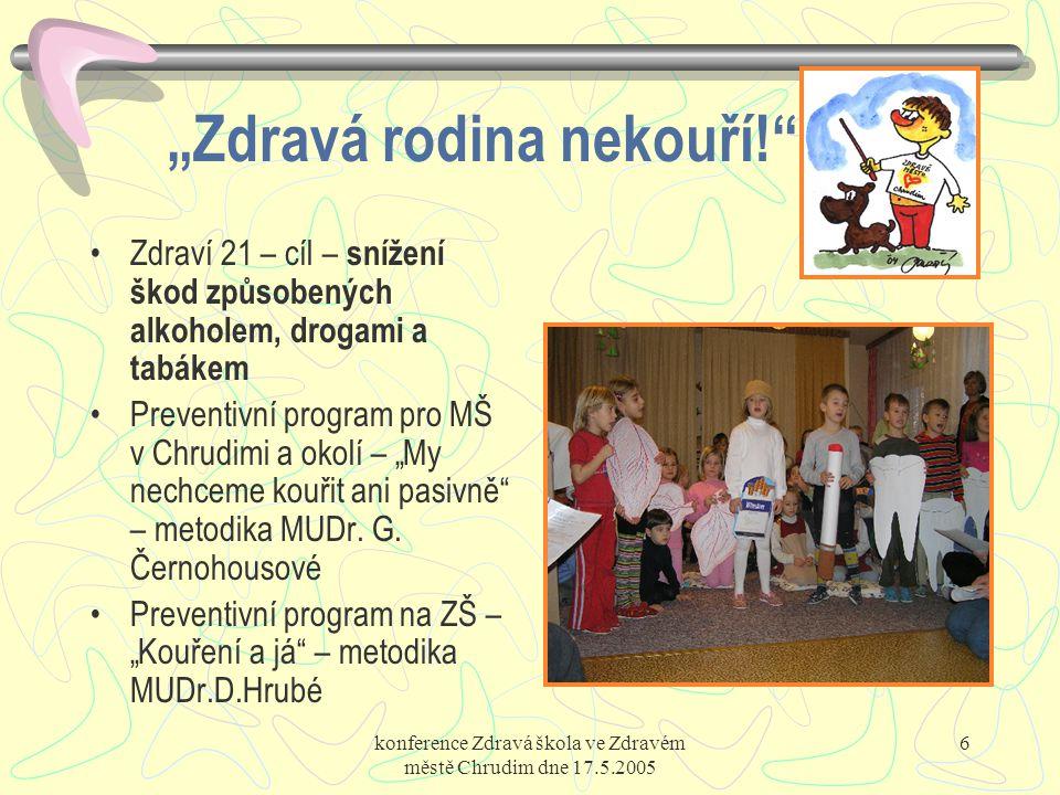 """konference Zdravá škola ve Zdravém městě Chrudim dne 17.5.2005 6 """"Zdravá rodina nekouří!"""" Zdraví 21 – cíl – snížení škod způsobených alkoholem, drogam"""