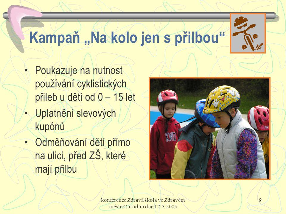 """konference Zdravá škola ve Zdravém městě Chrudim dne 17.5.2005 9 Kampaň """"Na kolo jen s přilbou"""" Poukazuje na nutnost používání cyklistických přileb u"""