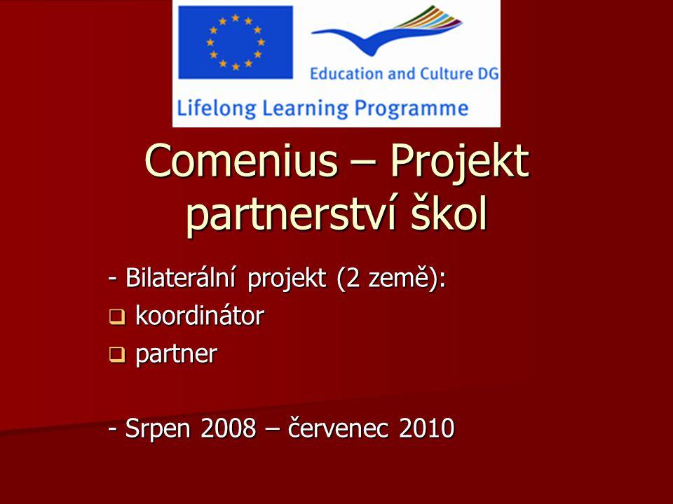Comenius – Projekt partnerství škol - Bilaterální projekt (2 země):  koordinátor  partner - Srpen 2008 – červenec 2010
