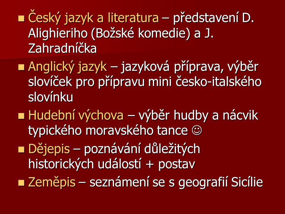 Český jazyk a literatura – představení D. Alighieriho (Božské komedie) a J.