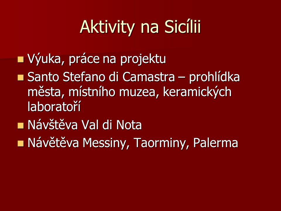 Aktivity na Sicílii Výuka, práce na projektu Výuka, práce na projektu Santo Stefano di Camastra – prohlídka města, místního muzea, keramických laboratoří Santo Stefano di Camastra – prohlídka města, místního muzea, keramických laboratoří Návštěva Val di Nota Návštěva Val di Nota Návětěva Messiny, Taorminy, Palerma Návětěva Messiny, Taorminy, Palerma