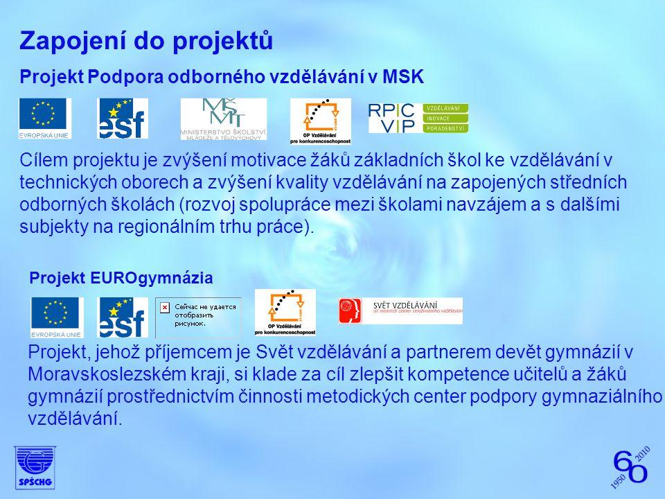 Zapojení do projektů Projekt Podpora odborného vzdělávání v MSK Cílem projektu je zvýšení motivace žáků základních škol ke vzdělávání v technických ob