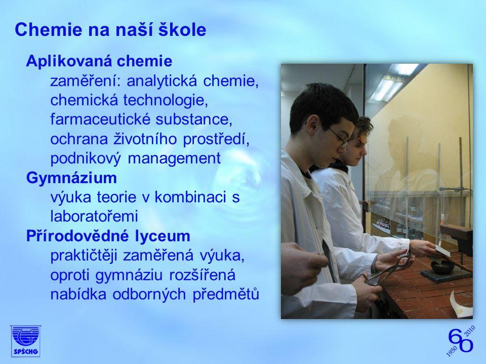 Chemie na naší škole Aplikovaná chemie zaměření: analytická chemie, chemická technologie, farmaceutické substance, ochrana životního prostředí, podnik