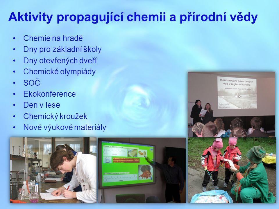 Chemie na hradě jsme jedním z hlavních organizátorů chemického jarmarku na Slezskoostravském hradě akce se účastní nejen základní a střední školy, ale i široká veřejnost efektními pokusy se snažíme zaujmout a vytvořit nový pohled na chemii letošní již 5.