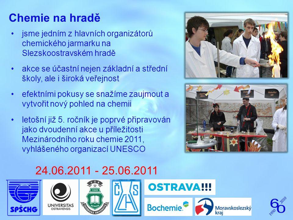 Chemie na hradě jsme jedním z hlavních organizátorů chemického jarmarku na Slezskoostravském hradě akce se účastní nejen základní a střední školy, ale