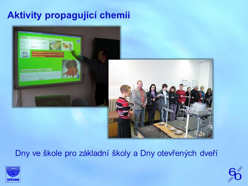 Aktivity propagující chemii Dny ve škole pro základní školy a Dny otevřených dveří